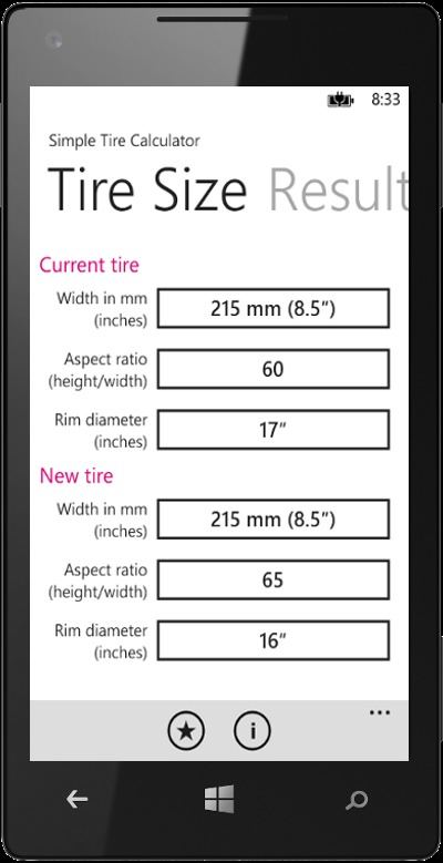 Tire Size Chart >> Simple Tire Calculator - Windows Phone Application