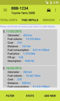 Fuel refills screen