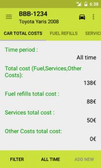 Total costs screen
